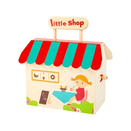 A toy store in a wooden box